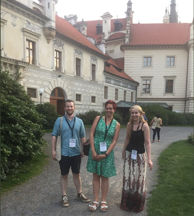 Image: Tom Thirkell, Katie Field and Grace Hoysted at Castle Průhonice for Wines of the World. Credit: Katie Field.