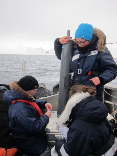 Dr Clara Hoppe and her colleagues take samples in the Arctic (Photo: Susana Garcia Espada)