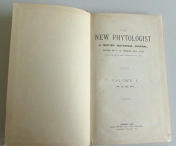 inside front cover of volume 1 of New Phytologist